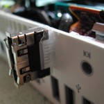 eSATA cable routed through security lock hole